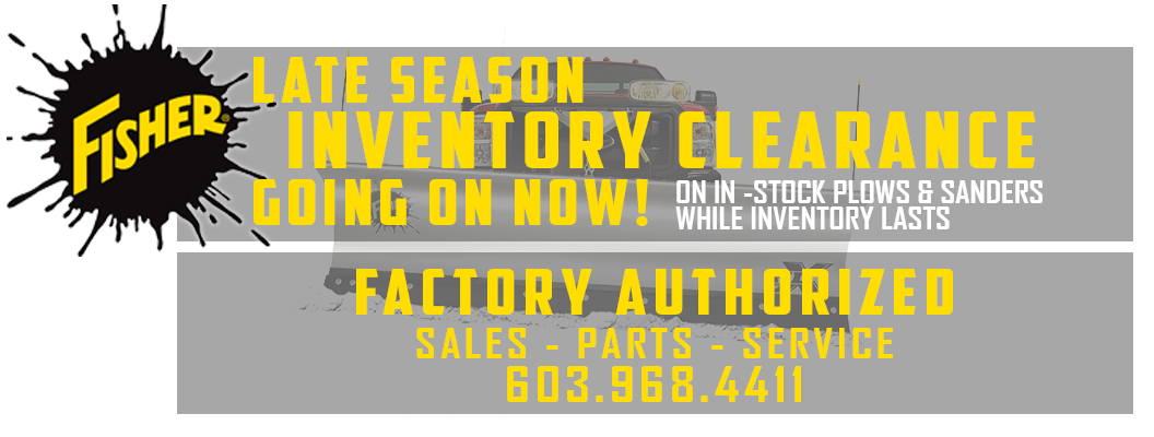 Inventory clearance sale going on now on in-stock plows and sanders. Don't miss some of the best deals of the year while supplies last!